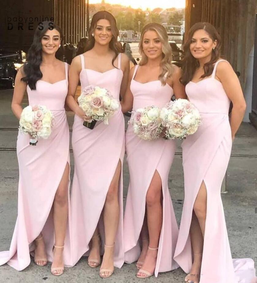 2021 긴 신부 들러리는 섹시한 스파게티 끈을 쪼개지 마세요. 분할 공식 드레스 웨딩 하녀의 명예 댄스 파티 드레스 플러스 사이즈