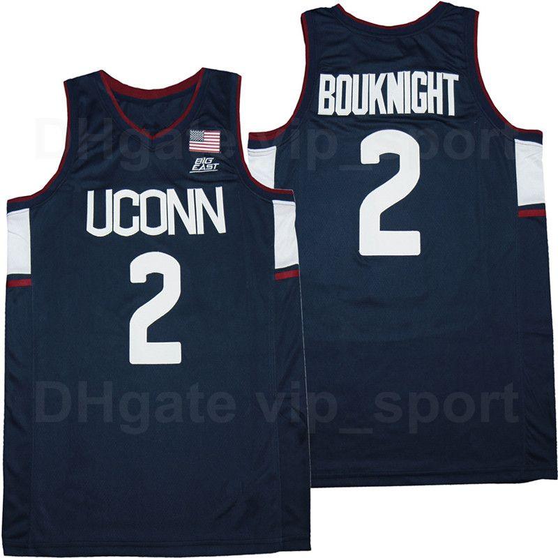 NCAA Basketball College 2 James Bouknight Uconn Huskies Jersey Equipe Respirável Marinho Aproximadamente Universidade de Algodão Puro Homens Tamanho S-XXXL