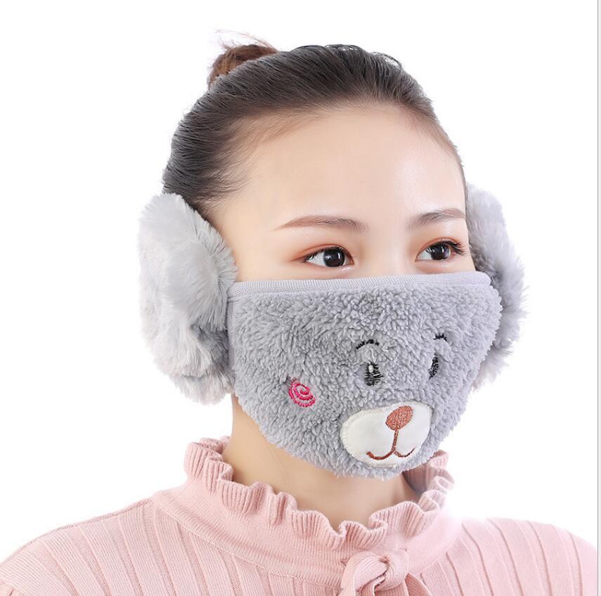 en 1 adulto y 2 niños máscaras de cara cartomoon animales diseños boca mufla polvo mascarilla a prueba de cara al aire libre invierno caliente a prueba de viento media máscara zzc