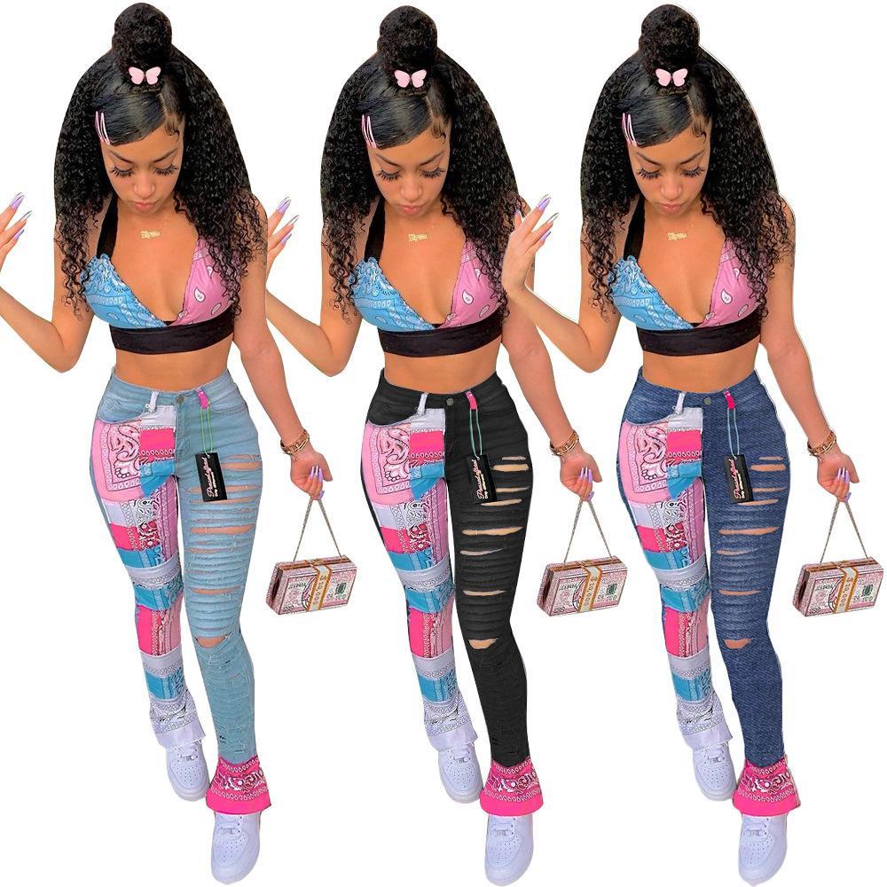 Узкая середина талии Женские джинсы на молнии на молнии на молнии мода панельные брюки брюки уличные новая повседневная женская одежда
