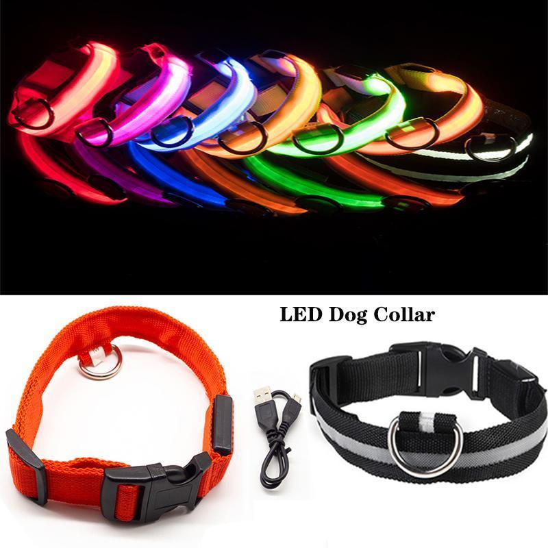 الكلب الياقات المقاود الحيوانات الأليفة أدى طوق تسخير usb قابلة للشحن ليلة مضيئة توهج وامض XS-L