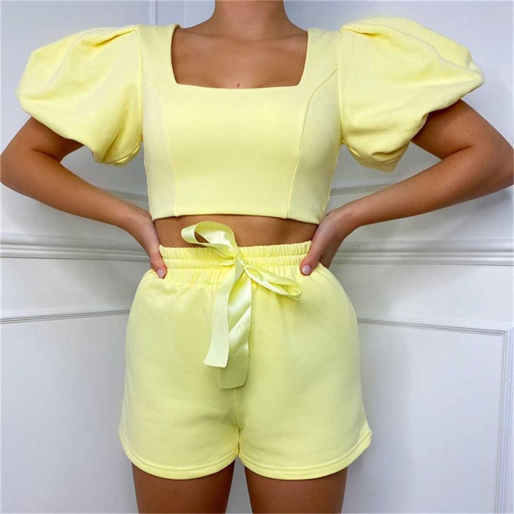 Dailou 2021 Nouveaux Womens Loungewear Set Collier Square Courte Crop Crop Top Top Top Top Two Piece Set Sum à Solid Solid Outfits Q0527