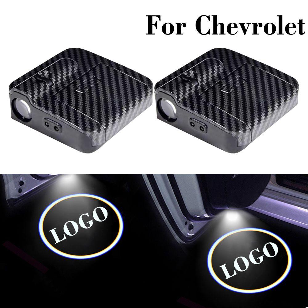 2 PCS LED 자동차 도어 고스트 라이트 Chevrolet Spark Orlando Captiva Lacetti Aveo Sonic Cruze Logo 레이저 프로젝터 램프 예의