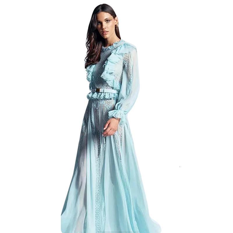 Длинное платье взлетно-посадочная полоса высокого качества весна осень новая женская мода партия пляж старинные элегантные шикарные взбитые кружевные платья 4S6L