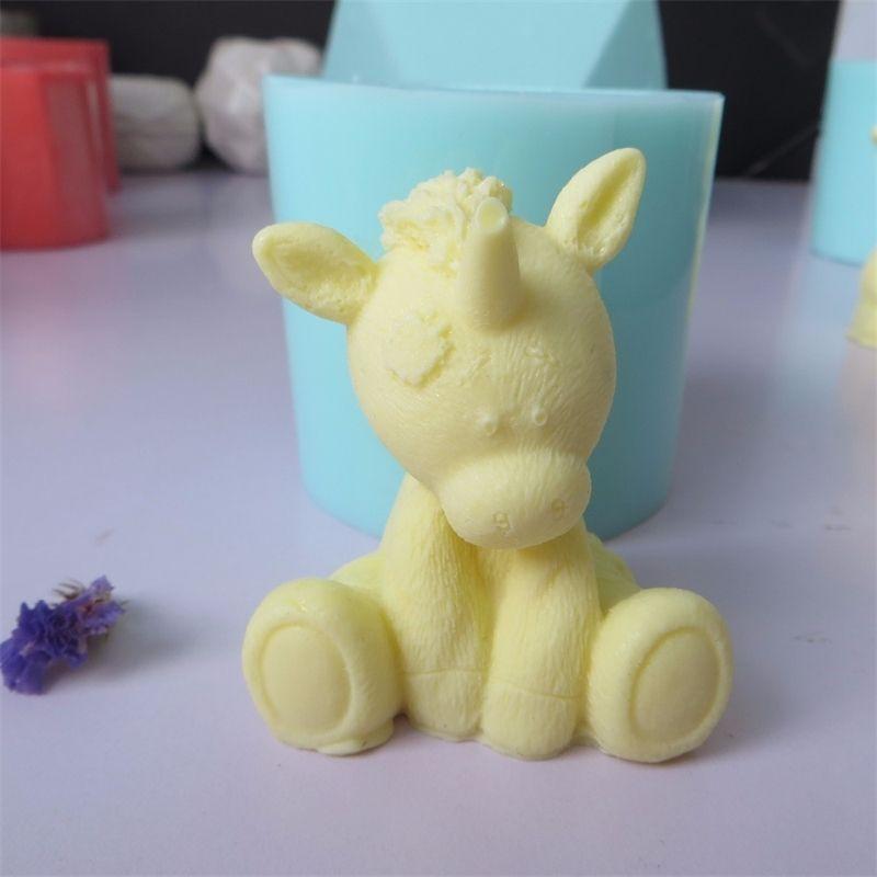 Симпатичные 3D единорог силиконовые плесени помадут плесень шоколадный мусс торт формы свеча аромат камень смола глиняные формы силиконовые резиновые przy 210225