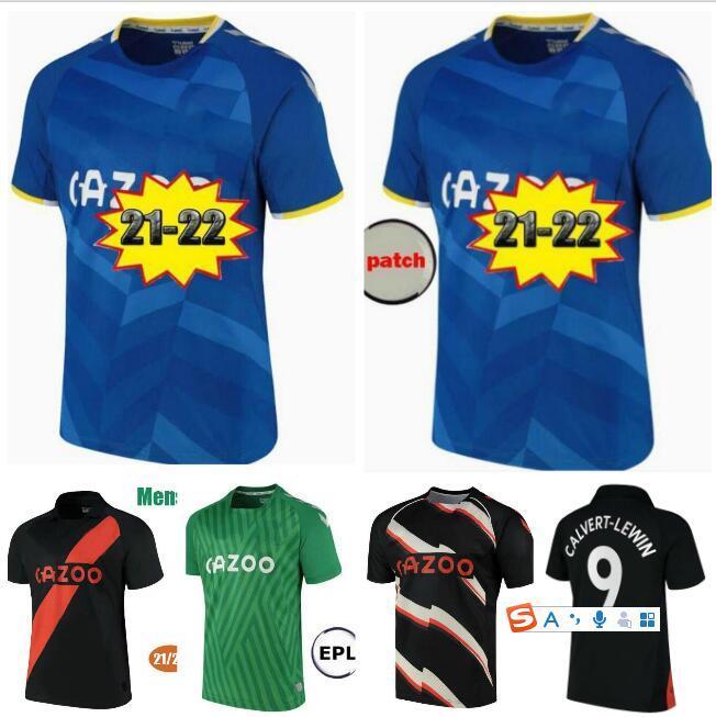 Mann + Kinder Kit 21 22 James Home Blue Soccer Jerseys Calvert-Lewin Calvert Lewin Richarlison Away Black Allan Digne Doucoure 2021 2022 Fußball-Hemd