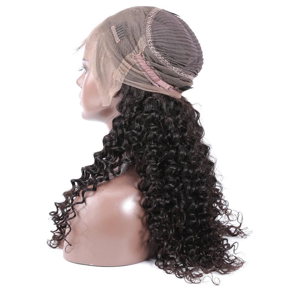 موجة عميقة الباروكة 360 الدانتيل أمامي لمة قبل التقطه مع شعر الطفل 180٪ الكثافة مجعد الشعر البشري الباروكات للنساء السود