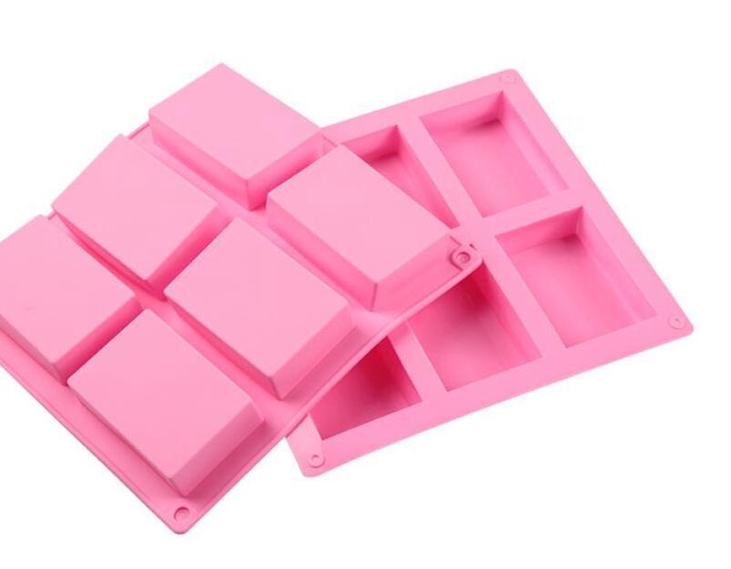 Molde de cozimento quadrado do silicone 8 * 5.5 * 2.5cm Moldes da bandeja do bolo Handmade molde do molde do molde de sabão WWA114