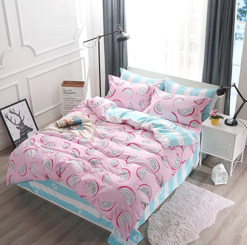 Bettwäsche-Sets 2021 Home Textile Rosa Pitaya Duvet Quilt Cover Kissenbezug Blatt Mädchen Kid King King Queen Queen Zweibettzimmer Ganzbett Bettwäsche