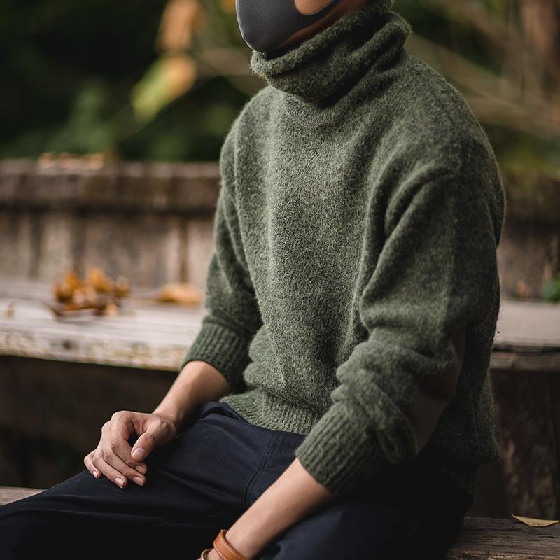 Vintage Maden erkek Sıcak Yumuşak Sohak Balıkçı Yeşil Gri Gri Uzun Kollu Kazak Ile Dirsek PMJF