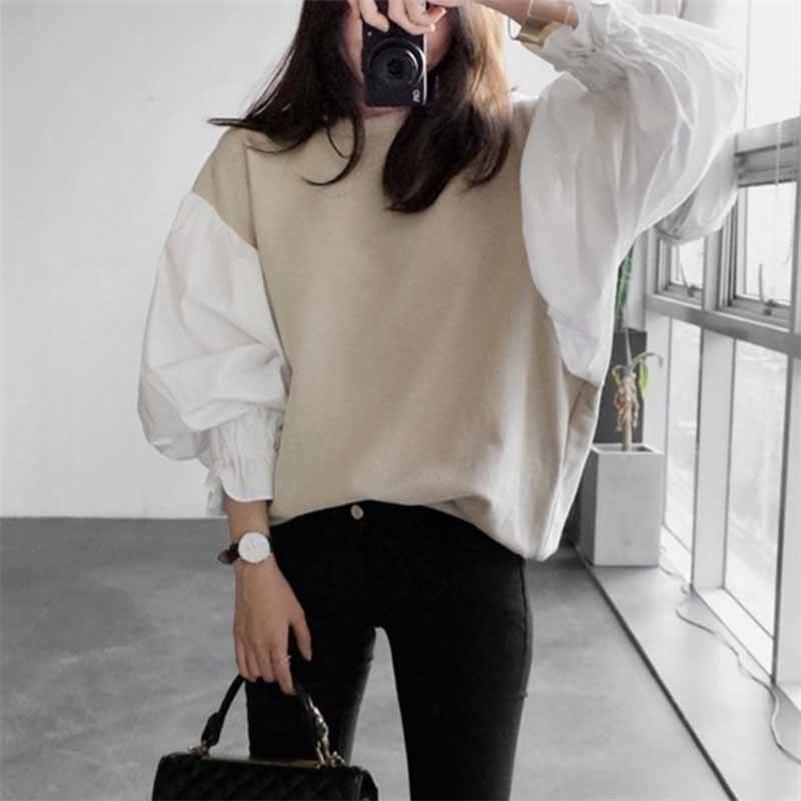 LANMREM Осенняя мода Новый круглый шейный фонарь Рукав женская разделительная короткая толстовка Япония и Южная Корея Топы LJ201130