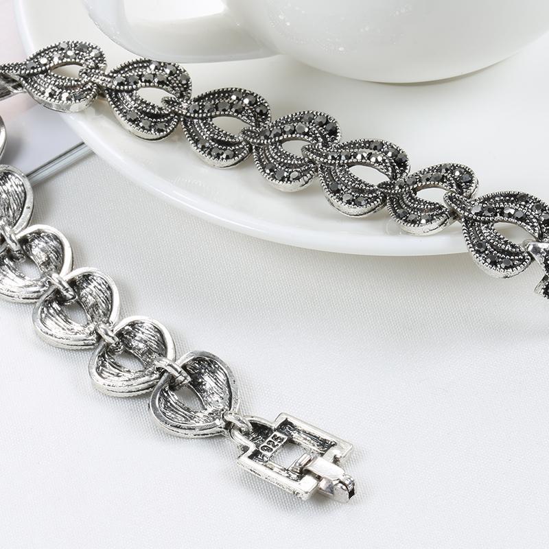 Kinel Boho Charm Bracelet Bracelet Noir Bracelet Pour Femmes Antique Tibétain Silver Petite goutte d'eau Bracelets Vintage bijoux