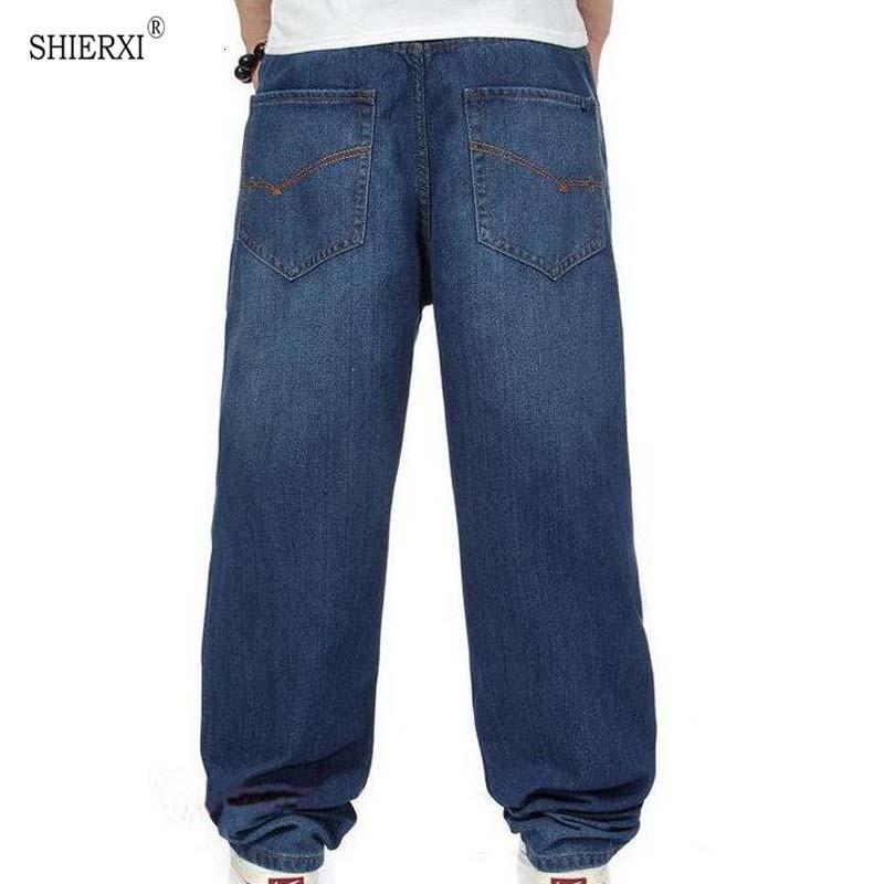Moda Baggy Yeni Adam Koyu Mavi Renk Hiphop Gevşek Kaykay Erkekler Kot Büyük Boy 30-46 Pantalones Botton Tro Efgw