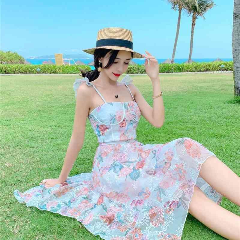 LDYRWQY Gedruckt Pilz Sling Unregelmäßigen Strand Urlaubskleid Sleeveless Reißverschlüsse Knielangen V-Ausschnitt 210603