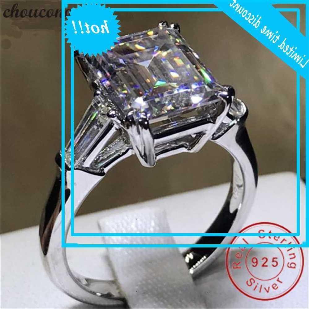 Choucong eterno princesa anel 100% real 925 prata esterlina aaaaaaa cz anéis de banda de casamento para mulheres dedos jóias