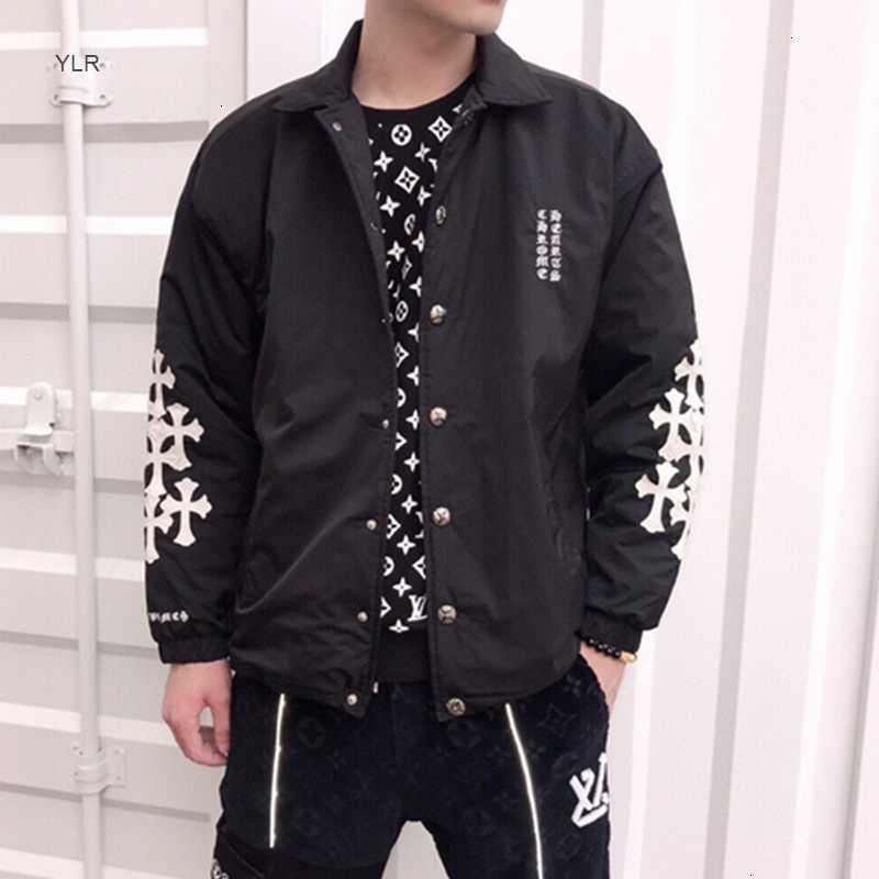 20 Outono e Inverno Moda Marca Crosin Homens Engrossado Algodão Almofada Jaqueta Braço Cruz De Couro Bordado Down Jacket Fashion