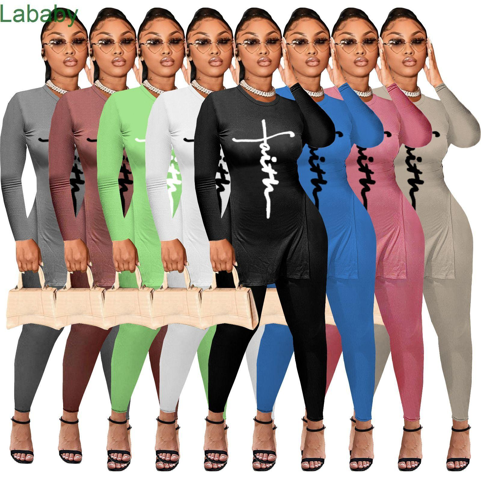 Women Tracksuits Two Pieces Set Designer Outfits Pit Bar Letters Printed Long Sleeve Leggings Ladies Casual Sportwear 8 Colours