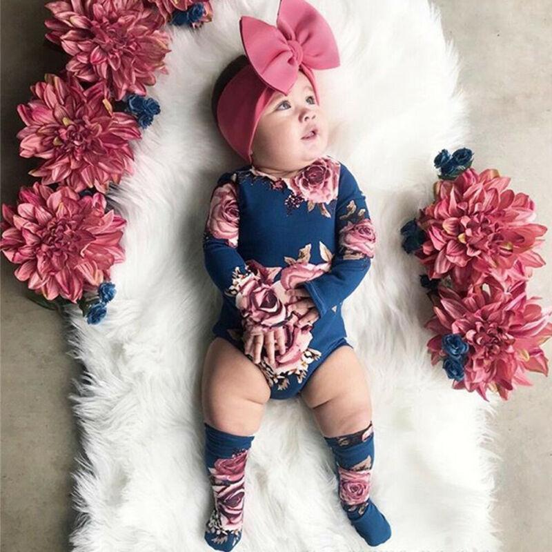 Neugeborenes Baby Langarm Strampler Großer Blumen Jumpsuit Mädchen Warme Bein Socken Outfit 0-24M