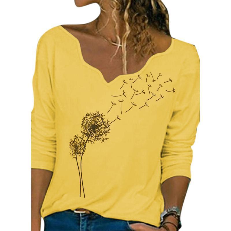 Damen T-Shirt Vicabo Fall Hemden für Frauen Langarm V-Ausschnitt T Shirts Casual Plus Size Baggy Tops T-shirt 5XL Löwenzahndruck