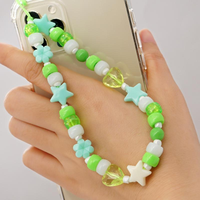 Link, Chain Phone Charm Beads Mobile Telephone Jewelry 2021 Star Charms Green Acrylic Beaded Lanyard Hangs Accessories