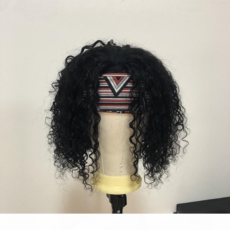 Kafa Peruk Kıvırcık İnsan Saç Peruk 150% Yoğunluk Brezilyalı Remy Yok Dantel Ön Peruk Kadınlar Için Doğal Renk Su Dalga Bob Peruk