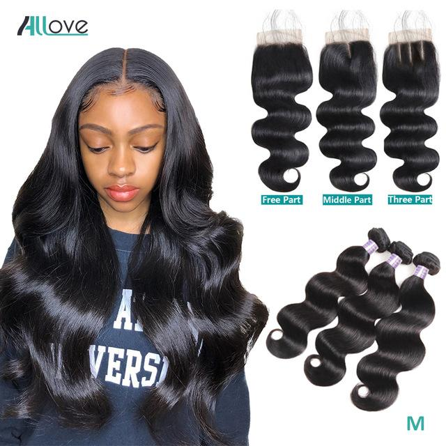 Allove Brazilian Human Hair Bundles Wefts With Lace Closure Peruvian Extensions Deep Loose Wave Curly Body Straight Weave for Women All Ages Natural Black 8-28inch