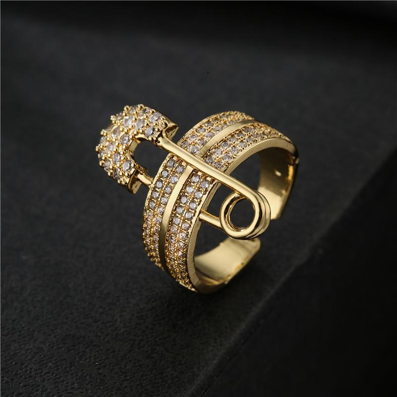 Cluster Rings Luxury + Cubic Zircon Paper Clip Charm Wedding Ring For Women 2021 Fashion Gold Color Open Adjustable Size Wholesale