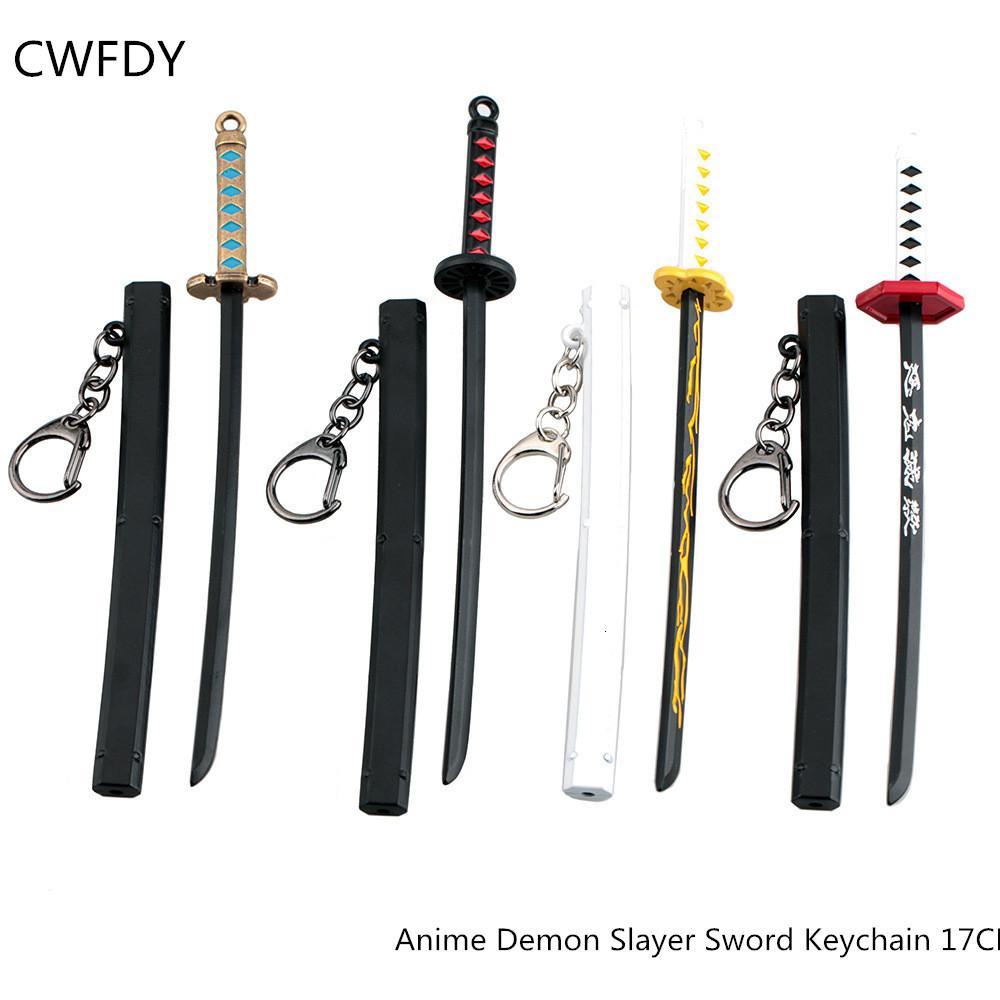 Sword Keychain Japon Anime Demon Demon Slayer Kiu No Yaiba Cartoon Kamado Tanjirou Blade d'armes de fantôme Props Poison