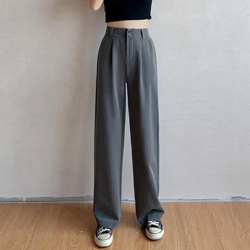 Negro gris mujer traje pantalones oficina señora pantalones largos 2021 nuevo primavera otoño sólido suelto cintura alto pantalón vestido pantalones femeninos