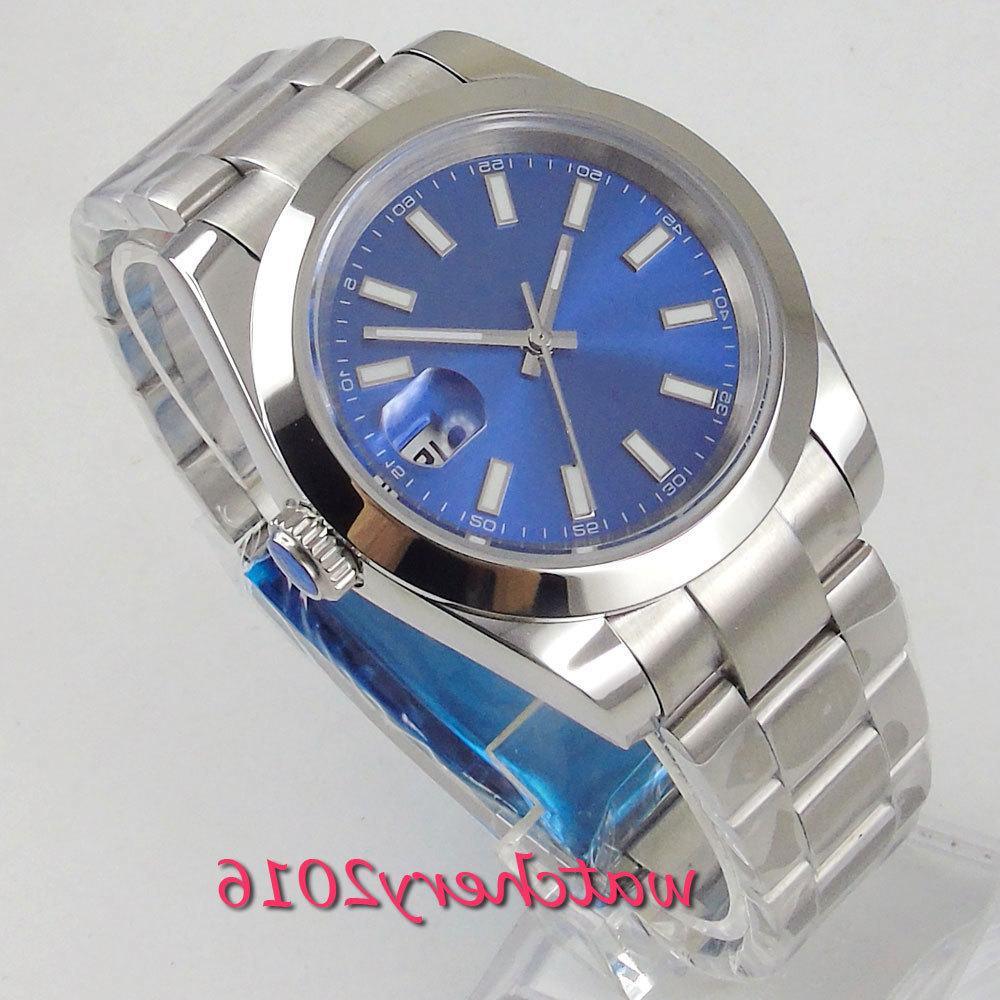 39mm Bliger Bliger Blue Sapphire Caja de acero inoxidable Caja de acero inoxidable Marca Movimiento automático de lujo Reloj de hombre