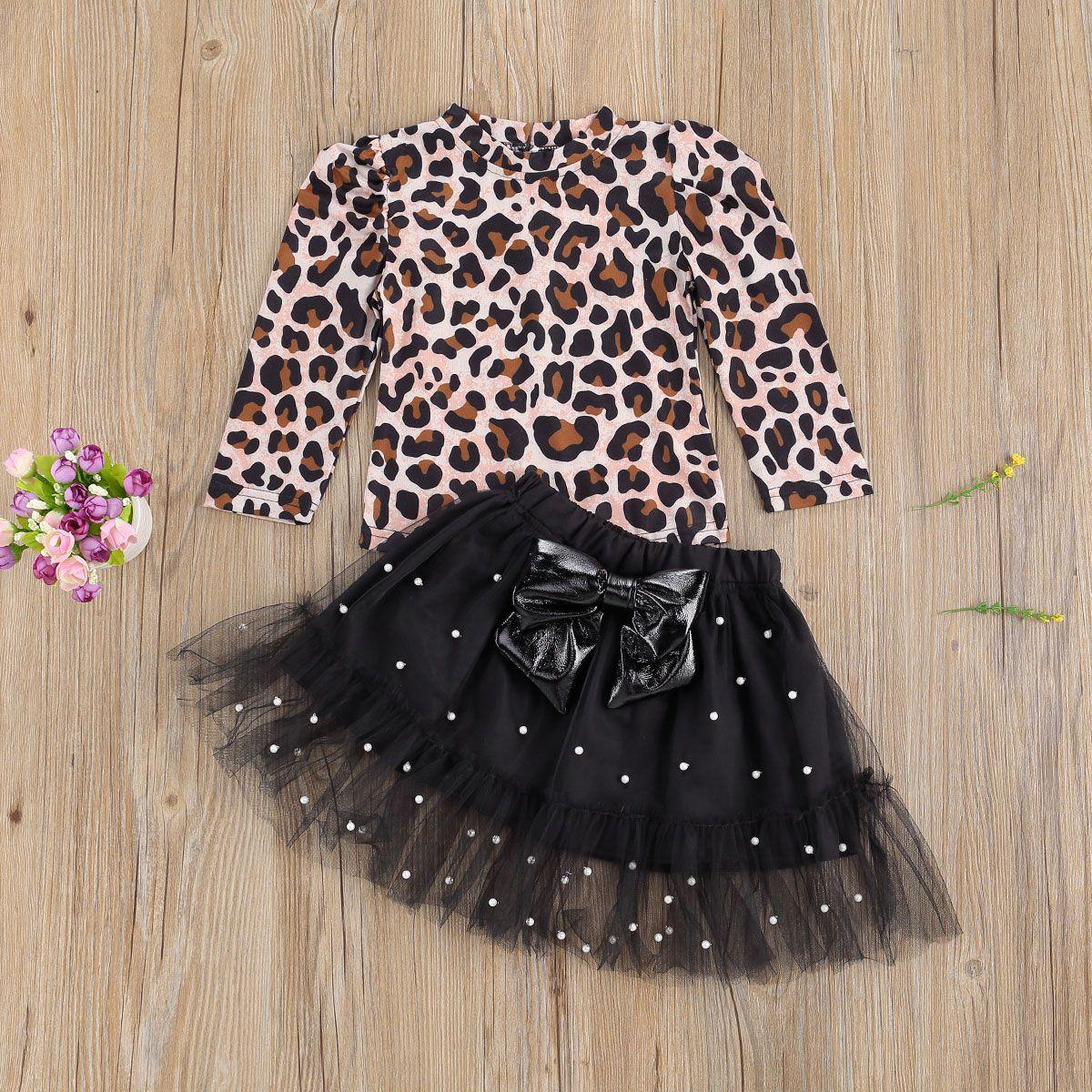 Herbst Mode Kinder Mädchen Leopard Kleidung Sets 2 stücke Langarm Pullover T Shirts Tops Pearl Spitze Bogen Tutu Röcke 1-6t