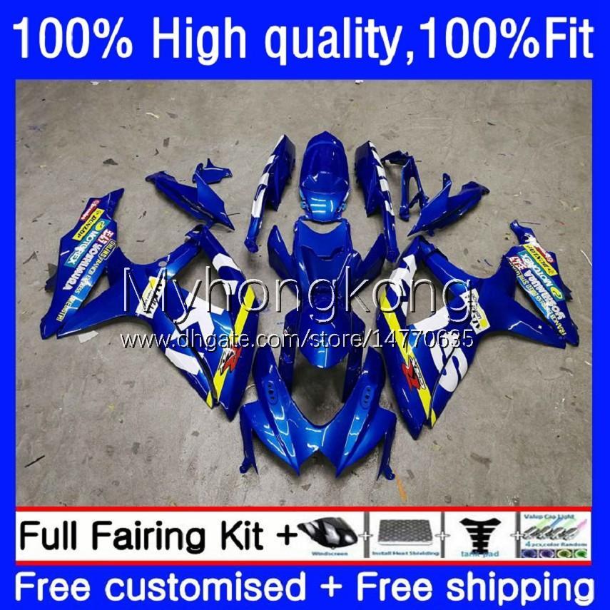 Injection Mold Fairings For SUZUKI GSXR600 GSXR-750 750CC K8 GSXR750 08-10 22No.0 GSXR 600 750 CC 600CC GSX-R600 08 09 10 GSXR-600 2008 2009 2010 OEM Bodys Factory Blue