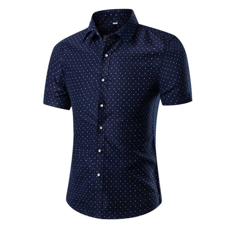 Новые Мужчины Бренд Бизнес Slim Рубашка Европейская Мода Печать Случайные Гавайи с короткими рукавами 12 Цветов