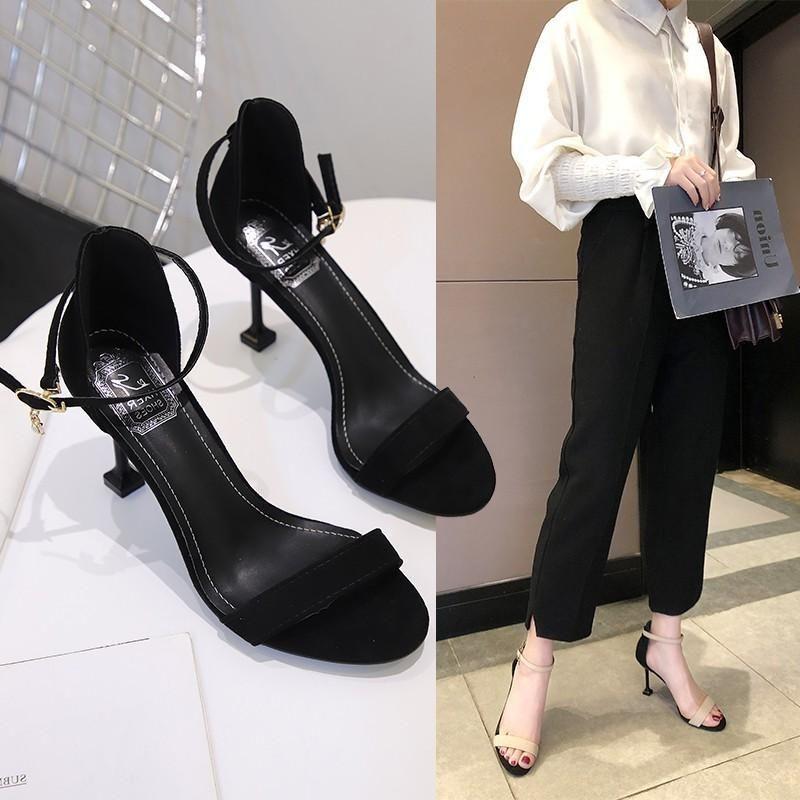 thin heel all-match black buckle student 2021 cat high-heeled fairy sandals