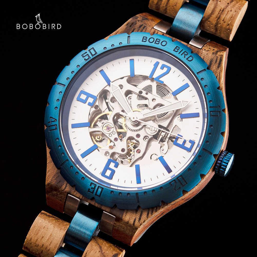 Bobo-Vogel aus Holz Automatische mechanische Uhren Männer Luxusuhr Orologi Uomo Automatico Valentinstag Geschenke für Mann in der Holzkiste 210603
