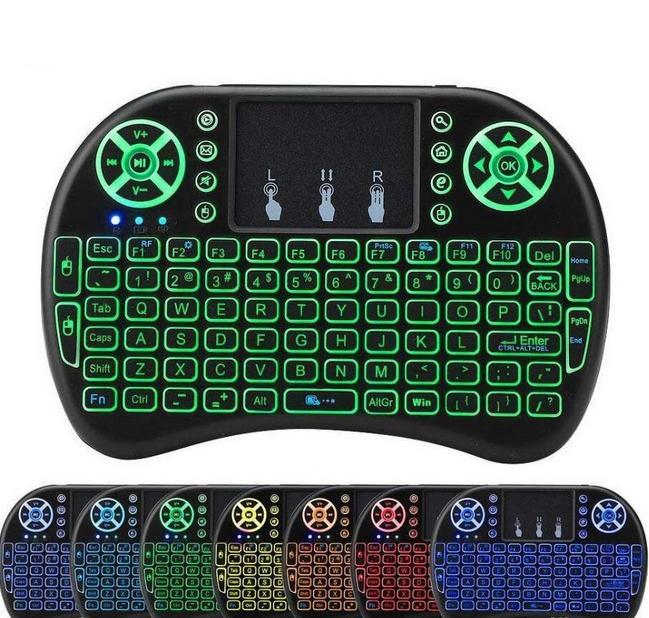 Беспроводной Mini I8 клавиатура с подсветкой 7-цветной подсветку дистанционного управления для Android TV Box 2.4G беспроводная клавиатура сенсорная панель универсальный язык