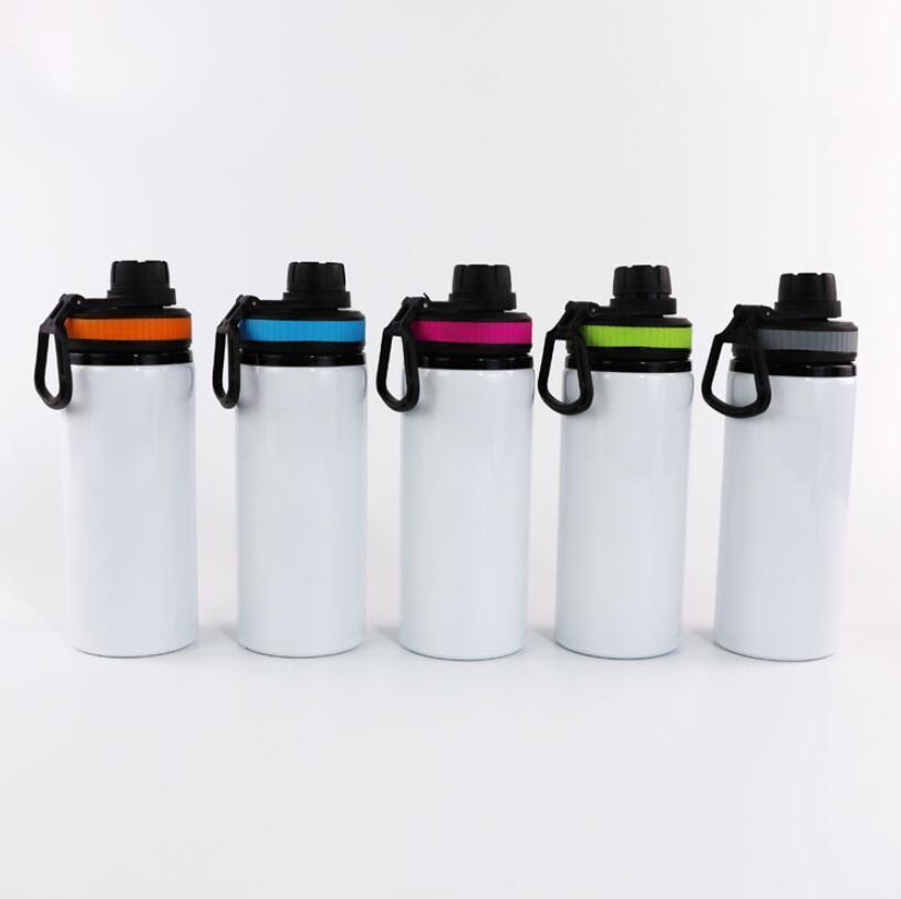 600 ملليلتر 20oz diy التسامي الفراغات زجاجة المياه البيضاء كؤوس القدح المغني طبقة الألومنيوم البهلوانات الشرب كوب مع أغطية 5 ألوان SEAWAY GWF9105