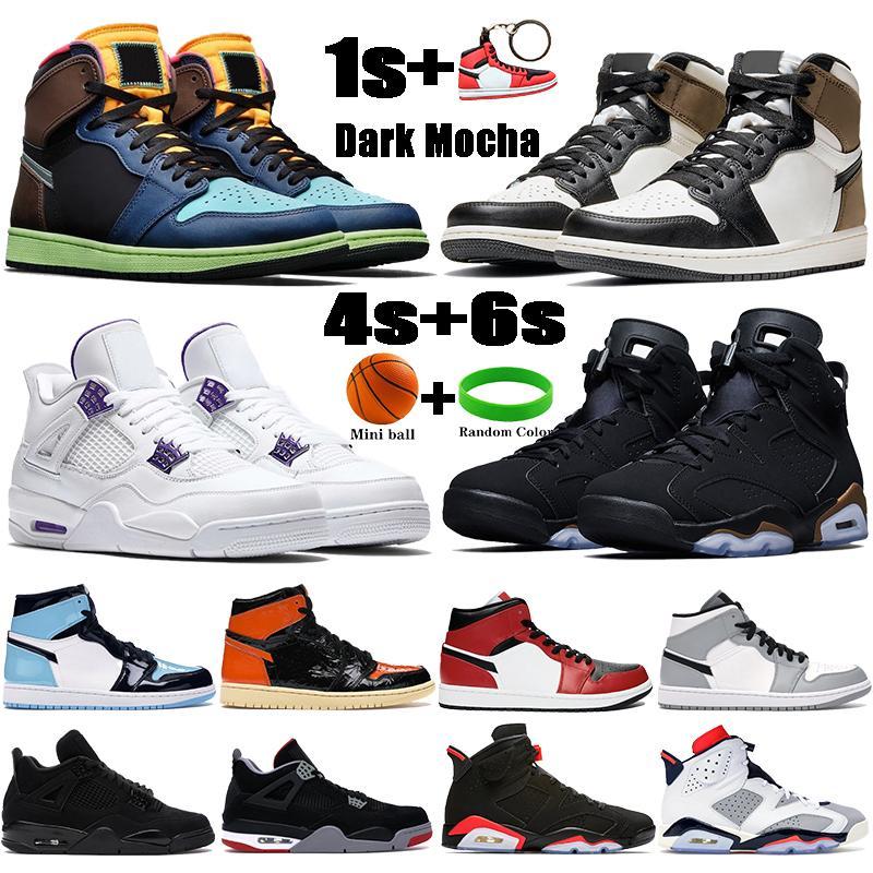 새로운 Jumpman 농구 신발 1 초 빛 연기 회색 UNC 4 4S는 6 기가는 남성 여성 운동화 DMP 5 5S 대체 포도를 RASTA
