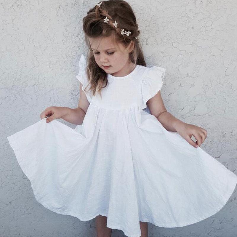 2021 Новые хлопковые льняные дети сплошной цвет одежды без рукавов детей для девочек детская одежда 1-6 лет IWSJ