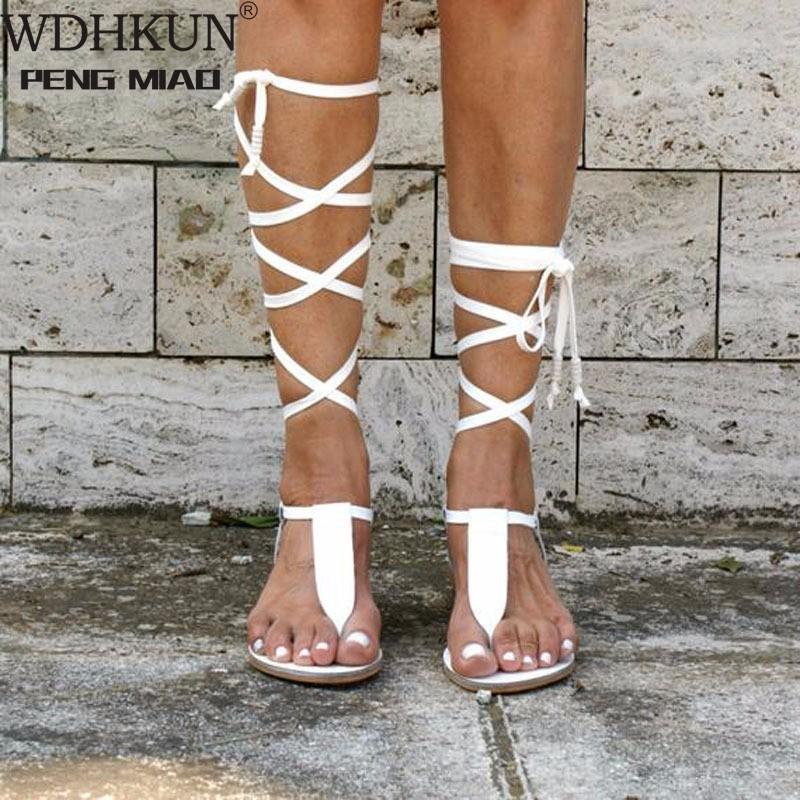 Сандалии Женщины Летний Открытый Новый Ремешок Римская Ветер Ремни Плоские Обувь Большой Размер Повседневная Мягкий Женский Пляж 2021