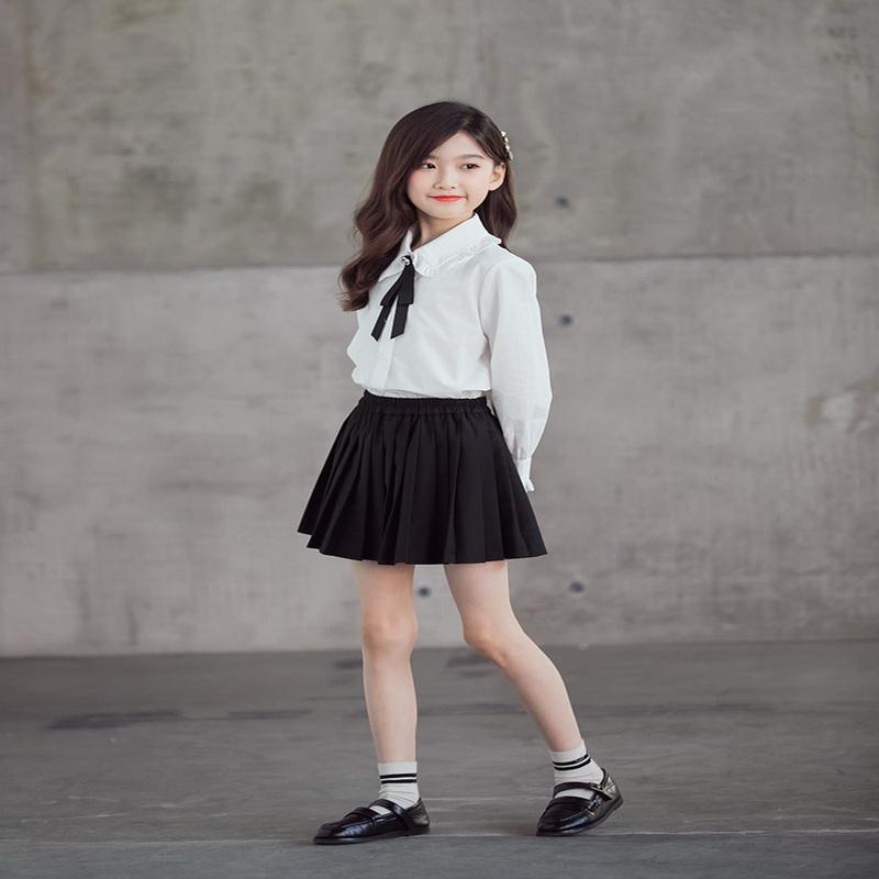 2021 Neue Spring Koreanische Stil Teenager Mädchen 2-PCs Sets Weiß Hemden + Feste Farbe Faltenrock Kinder Kleidung E1362