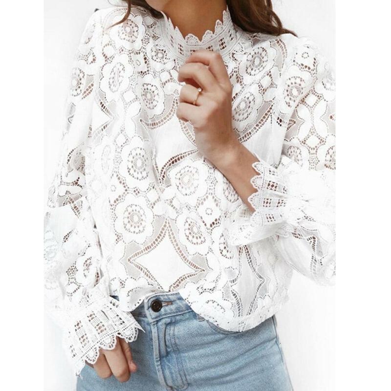2021 Новый летний белый кружевной рубашка женские блузки и топы горячие продажи мода вырезать полупрозрачный рог длинный рукав тонкий элегантный рубашки сексуальный sthy