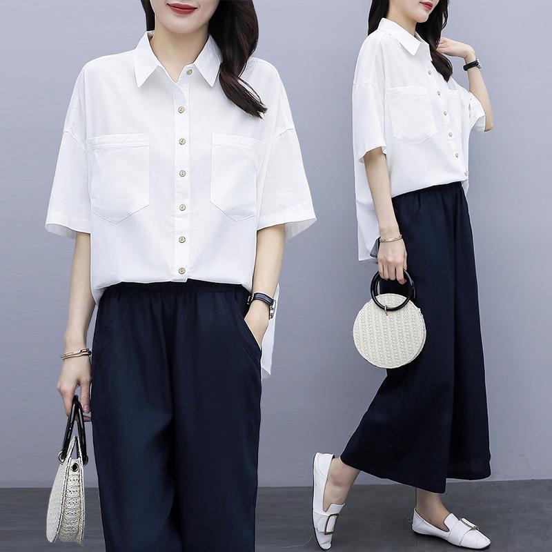 Mulheres de duas peças Calças da versão coreana Tamanho grande camisa fina de perna larga terno calças definir sobrevetimento femme 2 trajes de verão para mulheres