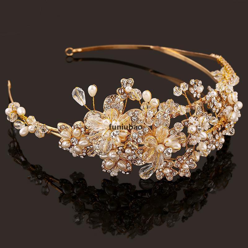 Batı Düğün Saç Aksesuarları Takı El Yapımı Altın Kristal Inci Asma Çiçek Taç Ve Tiara Barok Gelin Gelin Bandı CJ191226