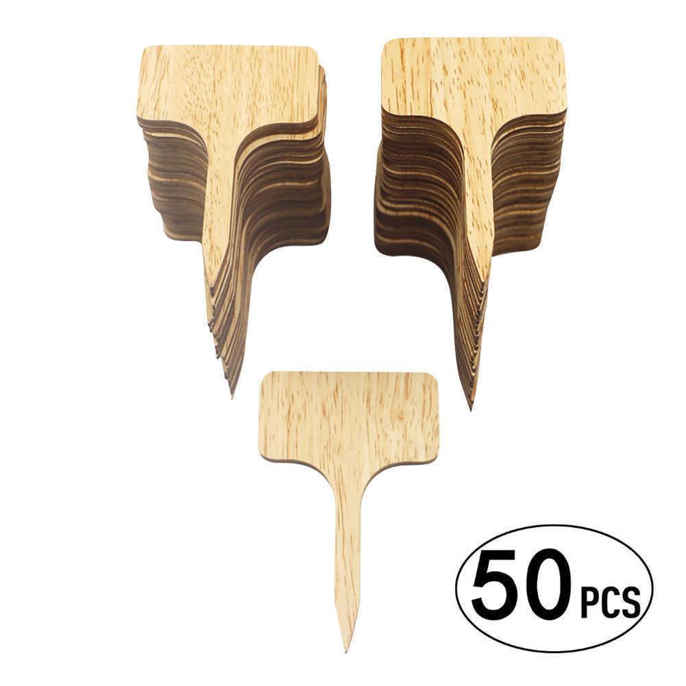 50X Wooden T-Type T-Type Bambu Etiquetas Eco-Friendly Planta de Madeira Sinal Tags Marcadores de Jardim para Semente Potted Ervas Flores Ferramentas 210615