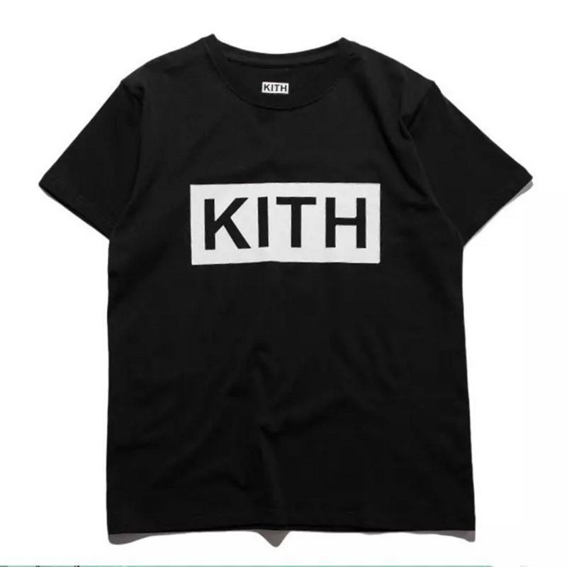 Fashion Mens Summer T-shirts KITH Lettres Imprimé Tee Cool Courbe à manches courtes Col Cotones Homme Femmes Blanc Black Tops S-3XL