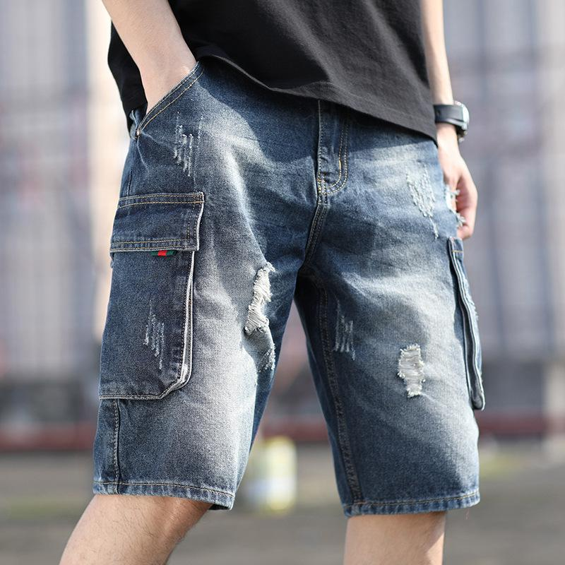 Tooling 5-point Jeans Middle with Holes Personalized Harem Pants Men's Large Loose Summer Thin Shorts