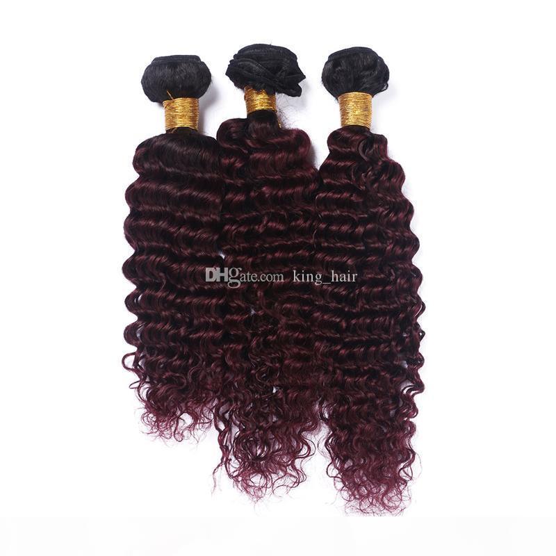 Wine profundo vinho vermelho ombre brasileiro cabelo humano pacotes escura raiz borgonha 1b 99j capilar tece dois tons extensões de cabelo 3 pcs lote
