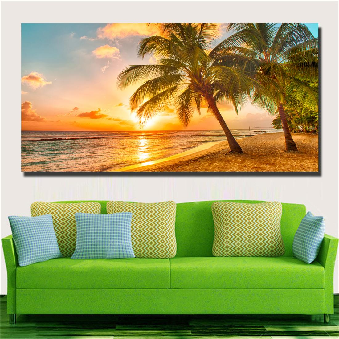 Large art prints Home Decor Canvas Painting Wall Art Beautiful Yellow Beach Wall Pictures for Living Room No Framed #113