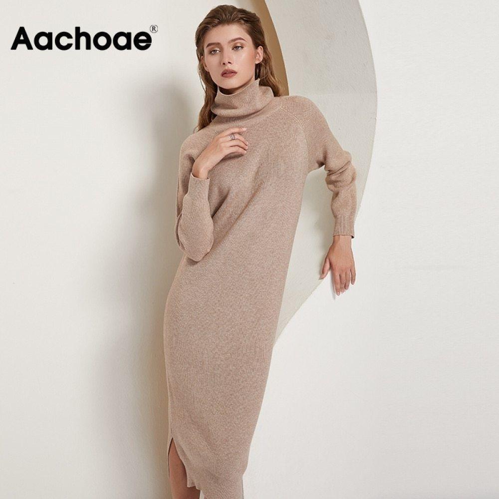 Aachoae Women Turtleneck Knitted Dress Batwing Long Sleeve Casual Long Dress Side Split Solid Loose Sweater Dresses Vestidos 210222